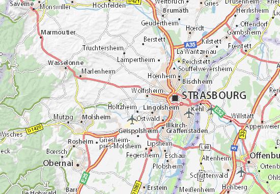 Kaart Plattegrond Oberschaeffolsheim