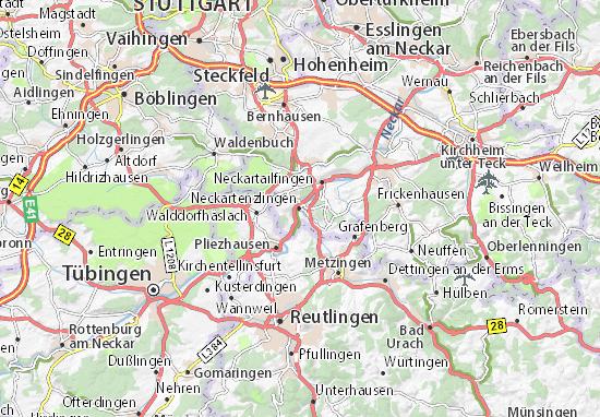 Karte Stadtplan Neckartenzlingen
