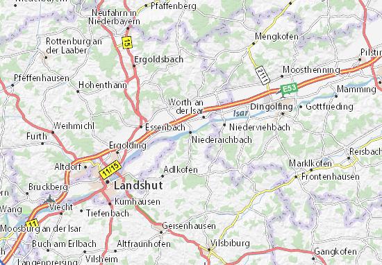 Karte Stadtplan Niederaichbach