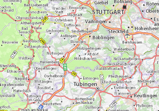 Karte Stadtplan Hildrizhausen