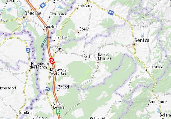 Kaart Plattegrond Šaštín