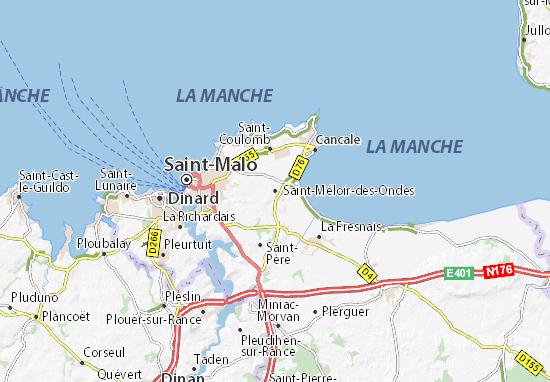 Kaart Plattegrond Saint-Méloir-des-Ondes