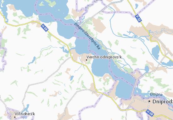Mapa Plano Verchn'odniprovs'k
