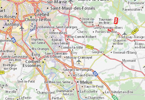 Karte Stadtplan Évry