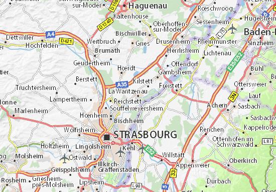 Kaart Plattegrond La Wantzenau