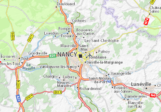 map of nancy michelin nancy map viamichelin. Black Bedroom Furniture Sets. Home Design Ideas