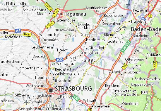Kaart Plattegrond Gambsheim