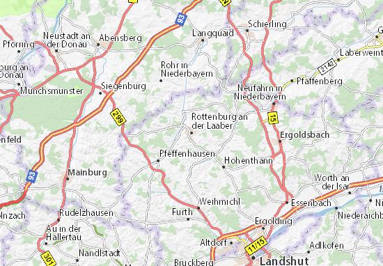 Karte Stadtplan Rottenburg an der Laaber