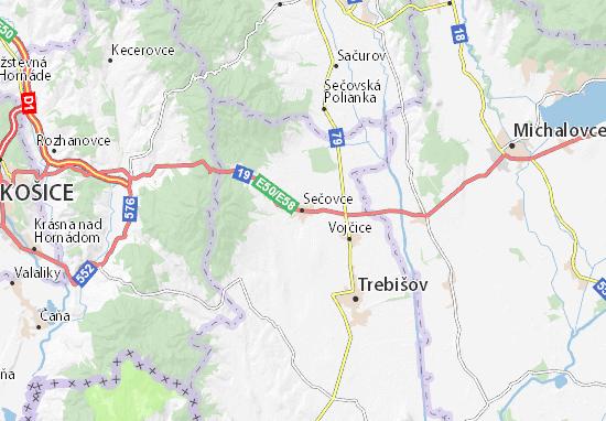 Sečovce Map
