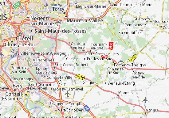 Karte Stadtplan Presles-en-Brie