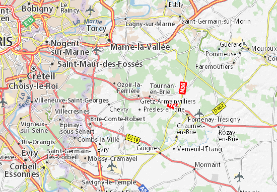 Karte Stadtplan Gretz-Armainvilliers