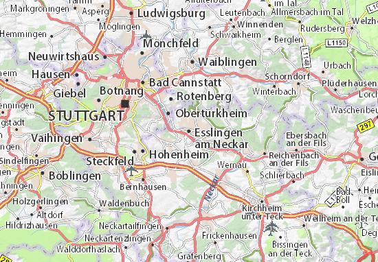 Kaart Plattegrond Esslingen am Neckar