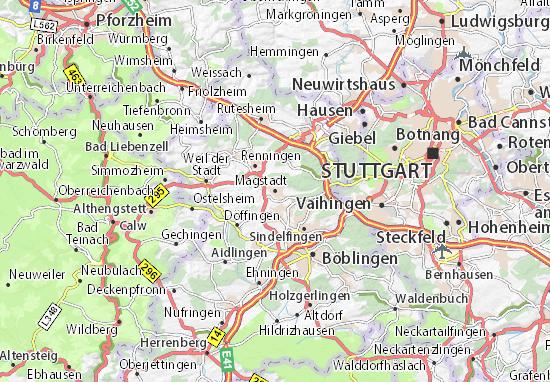 Karte Stadtplan Magstadt