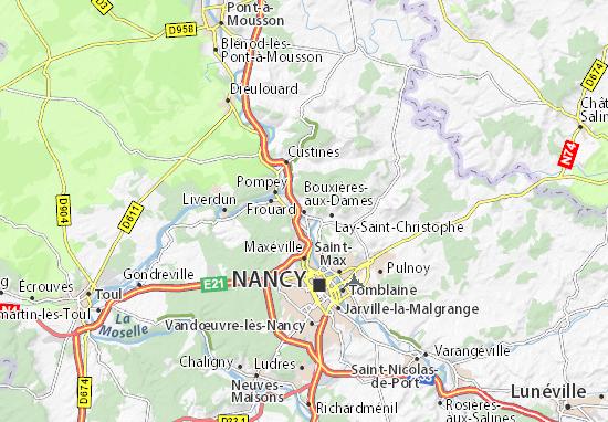 Kaart Plattegrond Bouxières-aux-Dames