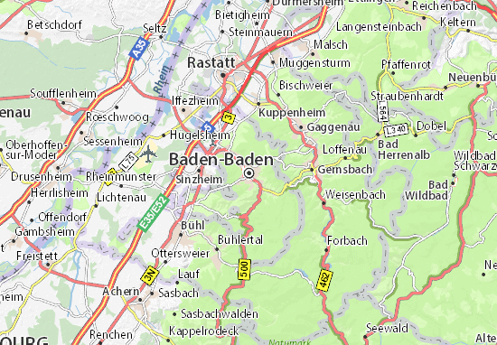 Map Of Germany Karlsruhe Baden.Baden Baden Map Detailed Maps For The City Of Baden Baden Viamichelin