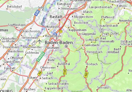 Kaart Plattegrond Baden-Baden
