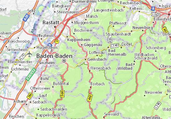 Kaart Plattegrond Gernsbach