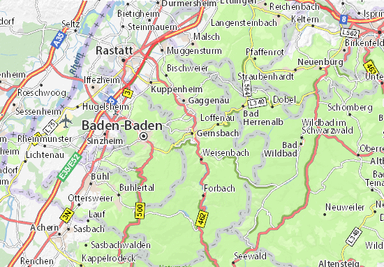 Karte Stadtplan Gernsbach
