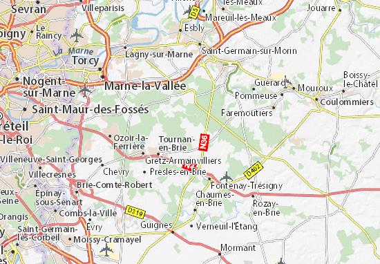 Carte D Taill E Neufmoutiers En Brie Plan Neufmoutiers En Brie Viamichelin