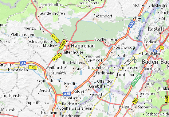 Kaart Plattegrond Oberhoffen-sur-Moder