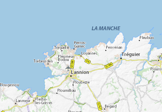 Louannec Map