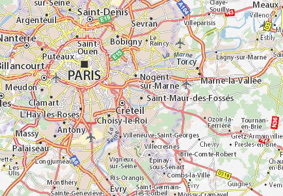map of saint maur des foss s michelin saint maur des foss s map viamichelin. Black Bedroom Furniture Sets. Home Design Ideas