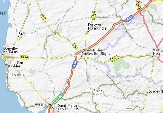 Mapa Plano Villedieu-les-Poêles-Rouffigny