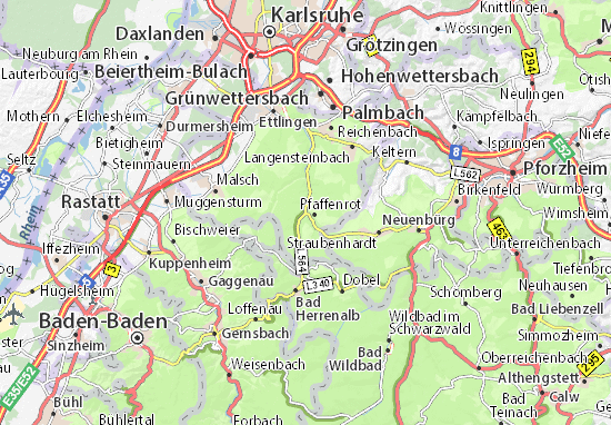 Pforzheim Karte.Karte Stadtplan Marxzell Viamichelin