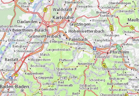 Karte Stadtplan Karlsbad Viamichelin