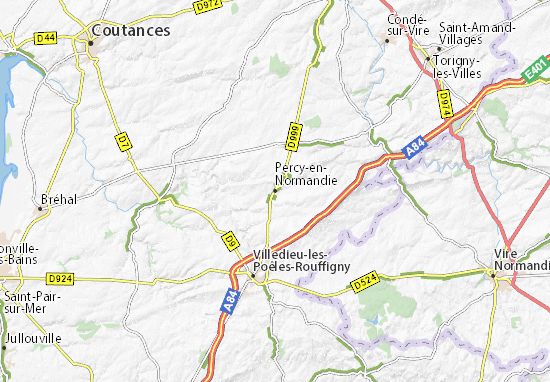 Mapa Plano Percy-en-Normandie