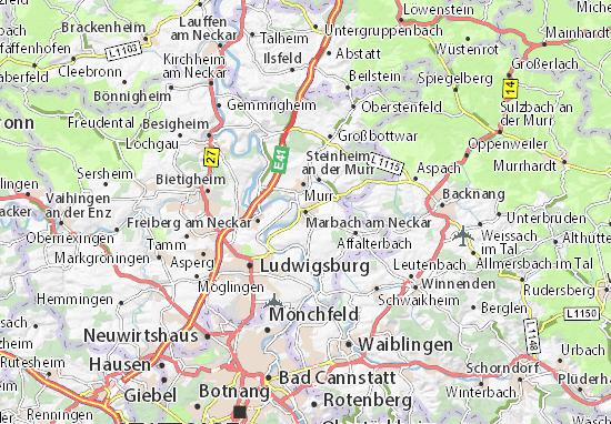 Karte Stadtplan Marbach am Neckar