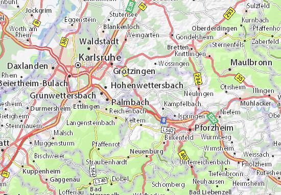 Karte Stadtplan Wilferdingen