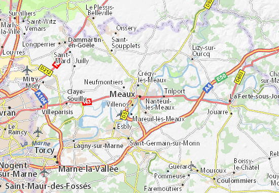 Karte Stadtplan Meaux