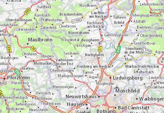 Karte Stadtplan Sachsenheim
