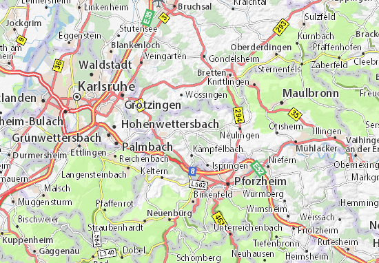 Pforzheim Karte.Karte Stadtplan Königsbach Stein Viamichelin
