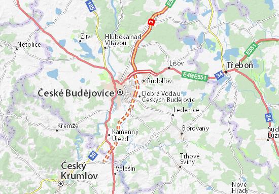 Karte Stadtplan Dobrá Voda u Českých Budějovic