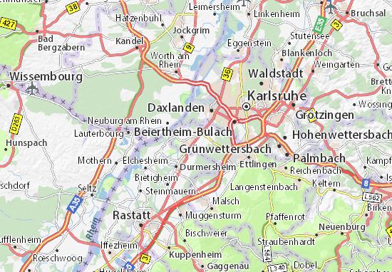 Karte Stadtplan Rheinstetten Viamichelin