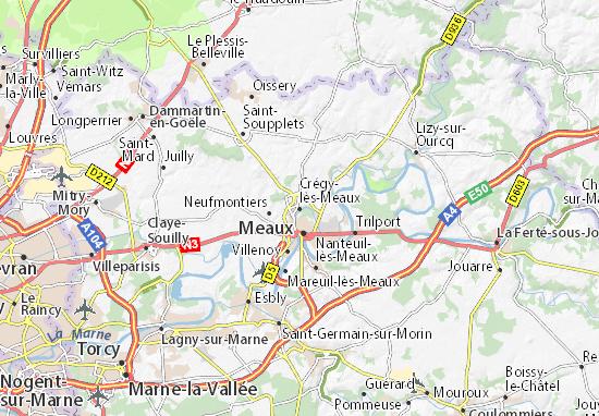 Crégy-lès-Meaux Map
