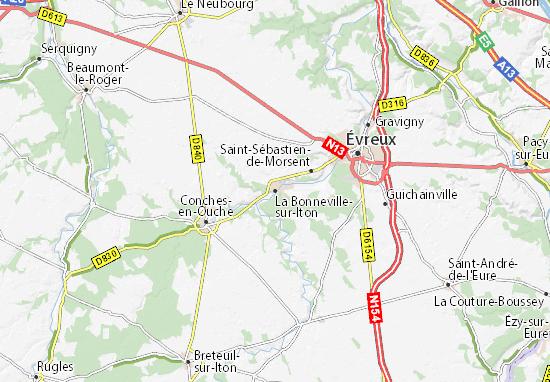 Mapa Plano La Bonneville-sur-Iton