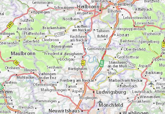 Heilbronn Karte Stadtplan.Karte Stadtplan Besigheim Viamichelin