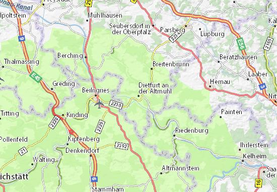 Karte Stadtplan Dietfurt an der Altmühl