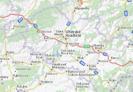 Kunovice Map