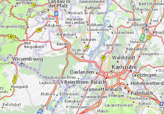 Kaart Plattegrond Wörth am Rhein