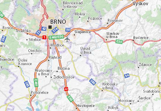 Mapa Plano Újezd u Brna