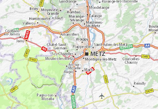 Kaart Plattegrond Longeville-lès-Metz