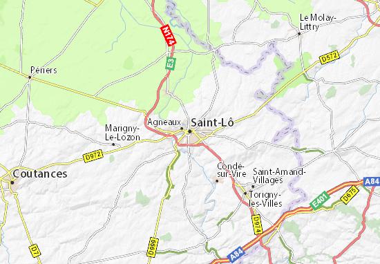 Kaart Plattegrond Saint-Lô