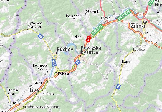 Mapa Plano Považská Bystrica