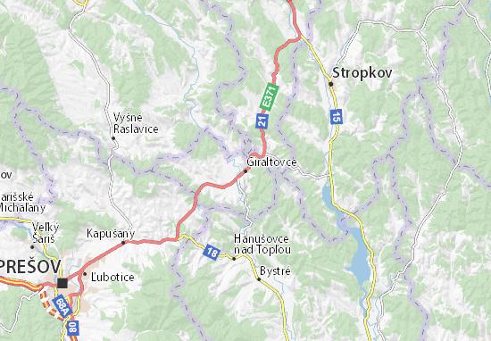 Giraltovce Map