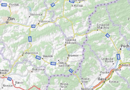 Mapa Plano Valašské Klobouky