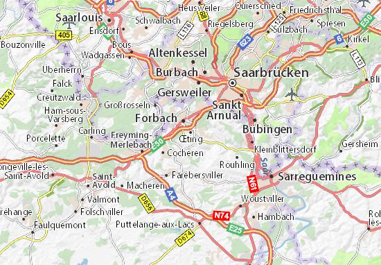 Karte Stadtplan Œting